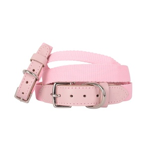 """The Melody"" Pink Webbing & Leather Collar"
