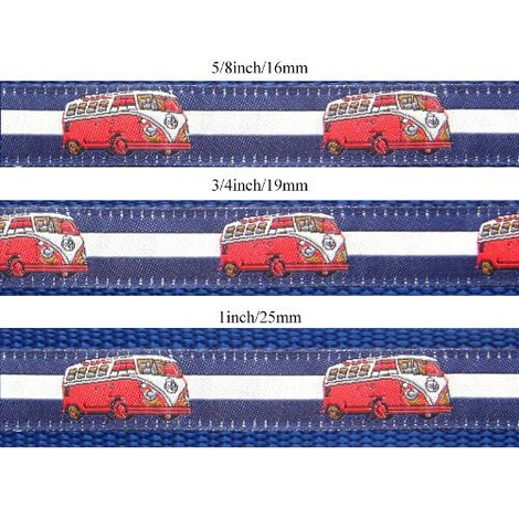 Red VW Camper Van Dog Collar – Navy & White Stripes 6