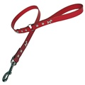 Red Silver Dogs Classic Leather Dog Lead