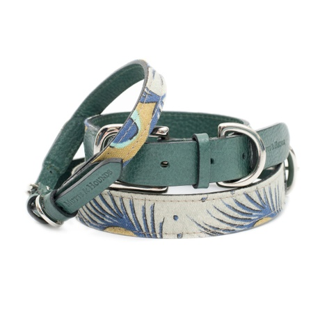 Peacock Linen and Leather Dog Collar