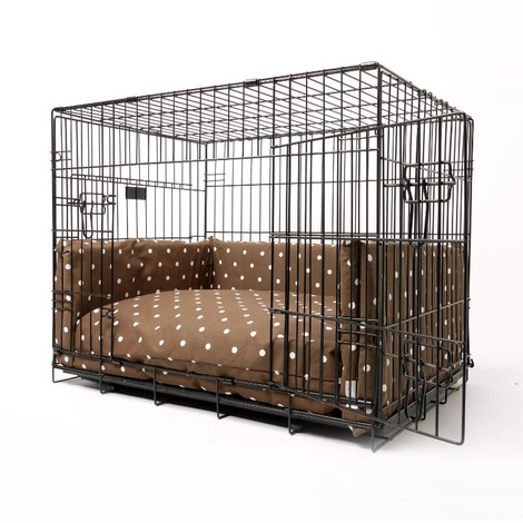Dog Crate Mattress & Bed Bumper Set - Dotty Chocolate	 2