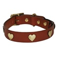 Brass Hearts Studs Leather Collar - Tan