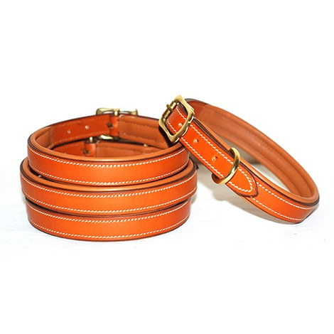Lined & Padded Leather Dog Collar - Tan