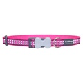 Bones Reflective Dog Collar - Hot Pink