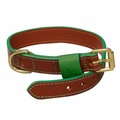 Pimlico Leather Dog Collar – Tan & Green