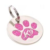K9 - K9 Glitter Pink Paw Dog ID Tag