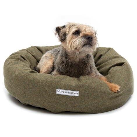 Forest Green Tweed Donut Bed 3