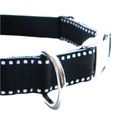 Dog Collar - White Saddle Stitch on Black 4