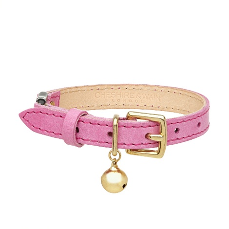Leather Pink Cat Collar
