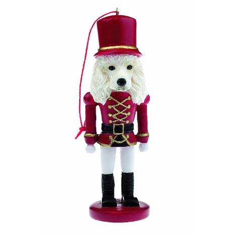 White Poodle Nutcracker Soldier Ornament