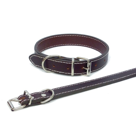 Traditional Plain Brown Leather Dog Collar 3