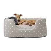 Charley Chau - Deeply Dishy Luxury Dog Bed - Dotty Dove Grey