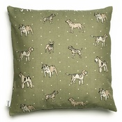 Mutts & Hounds - Dogs Linen Cushion - Green