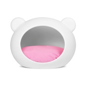 GuisaPet - Medium White Dog Cave with Pink Cushion