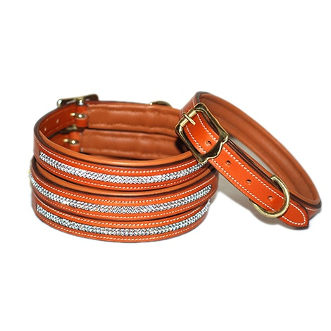 Diamonds Leather Dog Collar - London Tan