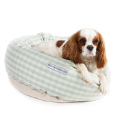 Mutts & Hounds - Mint Check Cotton Donut Bed