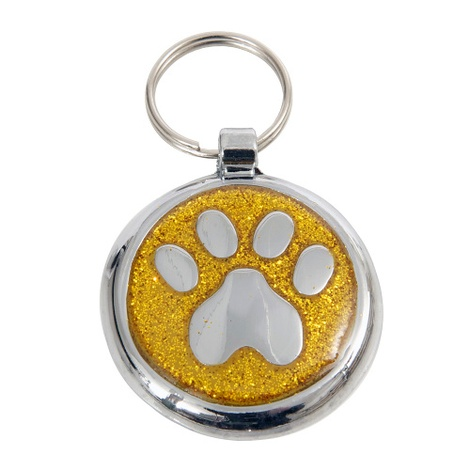 Shimmer Yellow Gold Paw Pet ID Tag