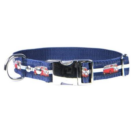 Red VW Camper Van Dog Collar – Navy & White Stripes