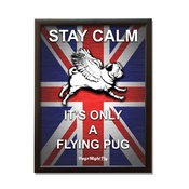 Pugs Might Fly - Union Jack Framed Poster - Red, White & Blue