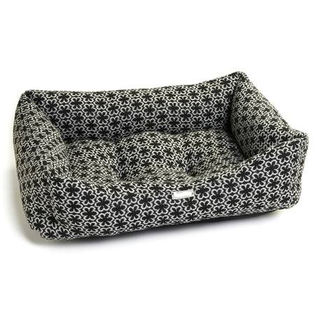 Black Flower Dog Bed