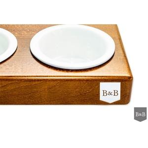 Bowl&Bone Duo Dog Bowl Ceramic Amber