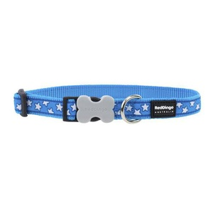 Red Dingo Patterned Dog Collar - Turquoise/White Stars