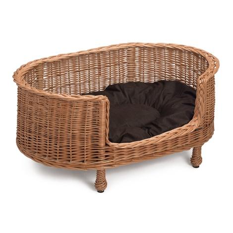 Luxury Wicker Oval Pet Bed Settee with Dark Cushion