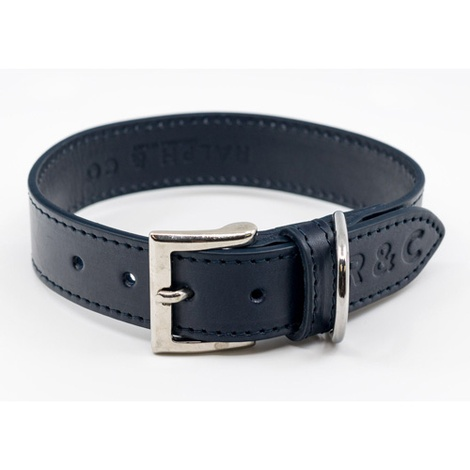 Leather dog collar (Rimini) - Midnight Blue 4