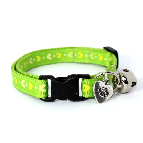 Green Heart Print Safety Cat Collar