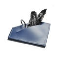 Leather Diamond Poo Bag Pouch - Navy 2