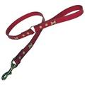 Red Brass Bones Classic Leather Dog Lead