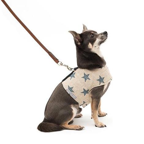 Navy Star Linen Soft Dog Harness