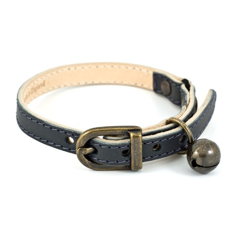 Slate Leather Cat Collar - Antique