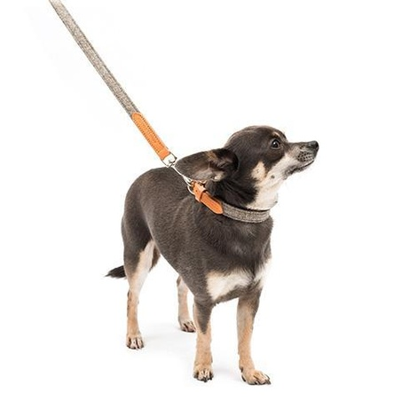 Camello Leather and Grey Tweed Dog Lead 3