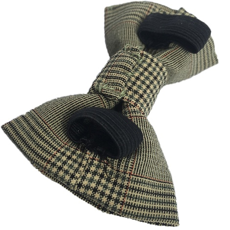 Brown Check Dog Bow Tie 3