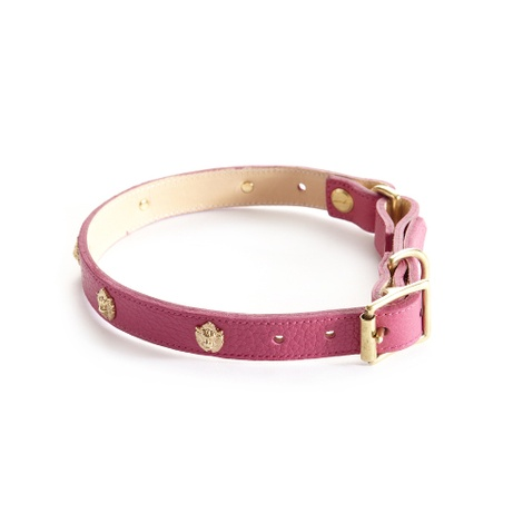 Woof Leather Dog Collar - Pink 2