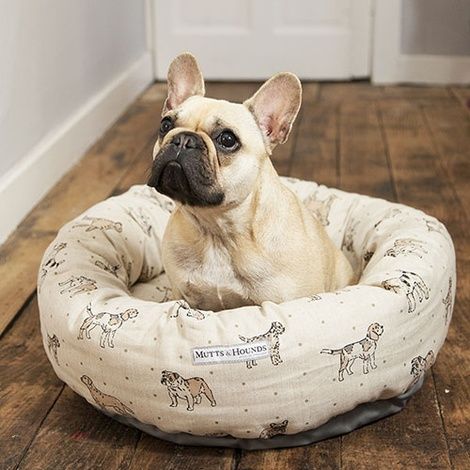 Dogs Linen Donut Bed - Natural 2