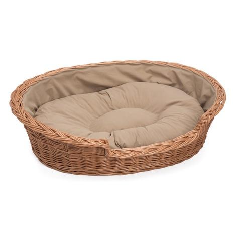 Wicker Pet Basket with Cream Cushion