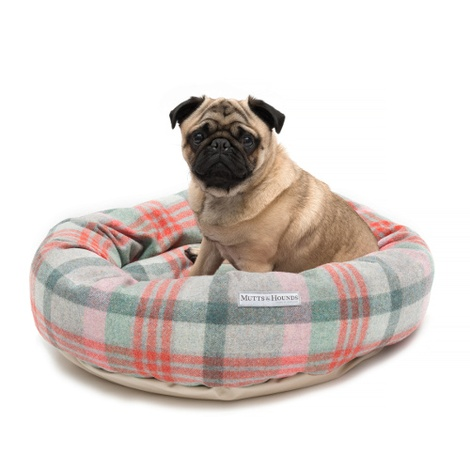 Macaroon Check Tweed Donut Dog Bed