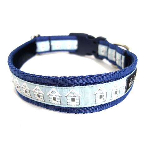 Blue Beach Huts Dog Collar 2