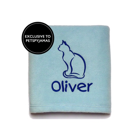 Personalised Cat Blanket - Blue