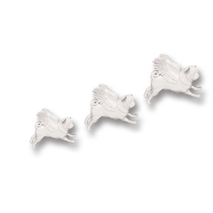 Set of 3 Flying Pugs - White