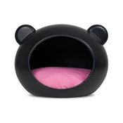 GuisaPet - Small Black Dog Cave with Pink Cushion