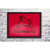 Pugs Might Fly - Handmade Poster - Red