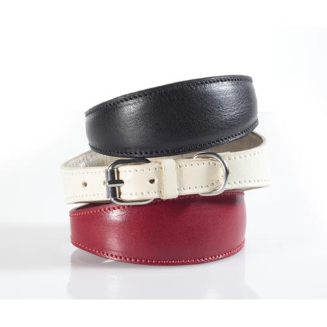 Fashion Leather Padded Dog Collar for Whippets Beige