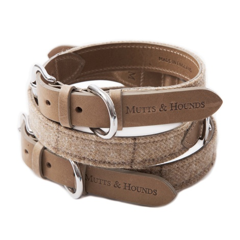 Oatmeal Check Tweed Dog Collar