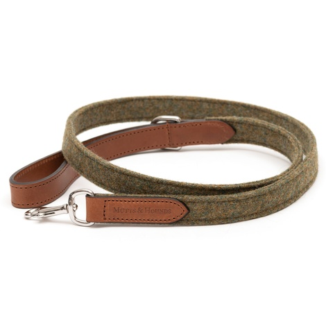 Forest Green Tweed & Tan Leather Lead  3