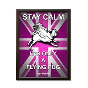 Pugs Might Fly - Union Jack Framed Poster - Pink & Purple