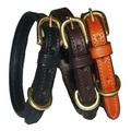 Flat Leather Dog Collar - Chocolate Brown 4