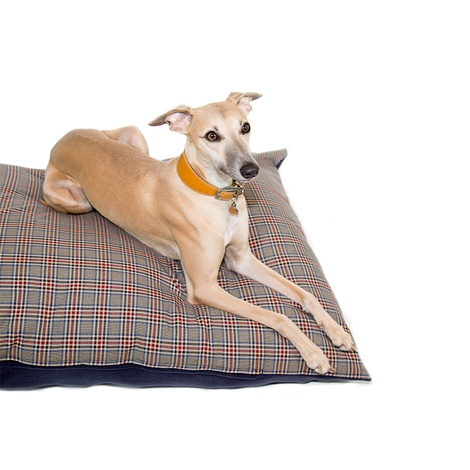 Personalised Brown Check Dog Doza Bed 2
